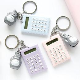 2019 totoro chaveiro Mini Calculadora Chaveiro Totoro Charme Portátil Calculadora Chave Anel Chave Saco Da Cadeia Pendurado Moda Jóias Drop SHip totoro chaveiro barato