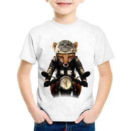 Cráneo del verano de las muchachas t shirts online-Moda Imprimir Fox Biker Niños Camisetas divertidas Niños Retro Skull Head Camisetas de verano Niños / Niñas Tops Casual Ropa de Bebé, HKP2065
