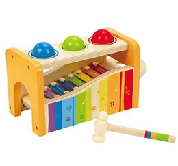 wood toy toddler Coupons - New Pound & Tap Bench with Slide Out Xylophone Durable Wooden Musical Pounding Toy for Toddlers, Multifunctional