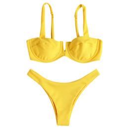 Желтый бикини онлайн-Женская Сексуальная желтый бикини с нажимной вверх бюстгальтер косточках проложенный 2 шт кубовый стринги купальники дамы пляж купальник Специальная ткань