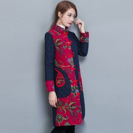 a36c6ed95f3 Women Winter Chinese Cotton   Linen Long Coat 2019 New Spring Vintage  Printed Jacket Large Size Clothes