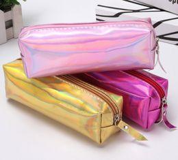 Cajas de lápices para niñas online-Caja de papelería bolsa de lápiz láser Coreano chica corazón bolsa de lápiz simple Estudiante femenino creativo bolsa de almacenamiento cilindro lindo