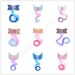 parrucche capelli barrette Sconti Glitter Unicorn Gradient parrucca Hairclip della treccia dei capelli ricci del Barrette Mermaid paillettes del fumetto delle neonate Party Princess Accessori per capelli E1701