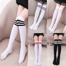b3daeb121 Three-striped Football Socks Kids Knee High Socks For Girls Boys Football  Cotton Sports Old School White Socks Skate Children Baby Long Tube
