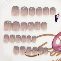 Обнаженные женщины для искусства онлайн-24pcs Ladies Sexy Nude Color False Nail Women Fashion Gradient Color Fake Nail DIY Short Size Full Cover Art Tips with Glue