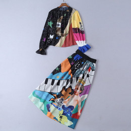 Poliestere del vestito da marca della pista online-607 2019 Runway Dress Plus Size Marca Same Style Due pezzi Set Impero manica lunga Flora Stampa girocollo poliestere SH