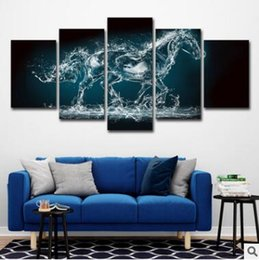 framed horse prints Promo Codes - Wall Art Canvas Pictures 5 Panels Modern Animal Water Horse No Frame Painting Canvas Art Wall Picture For Bed Room Unframed