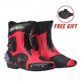 Ayak bileği Eklem Koruyucu Dişli Motosiklet Botları Moto Ayakkabı Motosiklet Sürme Yarış Motocross Çizmeler SIYAH KıRMıZı BEYAZ nereden