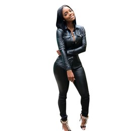 Canada Vente chaude Femmes Survêtement PU En Cuir Ensembles De Mode Vestes Décontractées Pantalons Solide Bureau Dame Lady OL Business Design Printemps Automne Party Club Costumes supplier neck design pieces for suits Offre