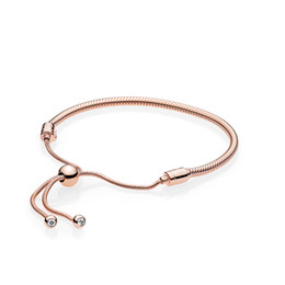 pandora gold Promo Codes - 18K Rose Gold plated Bracelets Hand rope for Pandora 925 Sterling Silver Bracelet for Women Original Box Girls Gift Jewelry wholesale