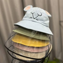 2019 cappello da crochet del fiore del beanie della ragazza Bambini protezione del bambino del cappello solare Uv Ombra Pescatore Cappello anti-fog Isolamento Saliva Maschera Child Protective cappucci di protezione per i bambini Cappello
