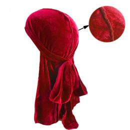 2019 pelo riwa Unisex Hombres Mujeres Chemo Cap 12 Colores Dorado Terciopelo Transpirable Bandana Turban Caps Long Tail Hat Headscarf Hair Styling Tool 10 unids