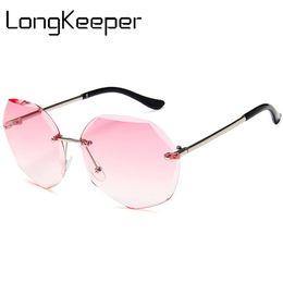 db29a2a4e2d5ae Longkeeper new randlose sonnenbrille frauen marke designer shades  sonnenbrille schneiden objektiv damen rahmenlose metall brillen uv400  randlose ...