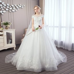 zuhair murad de hombro vestido de fiesta Rebajas 2019 Nueva Dubai Mangas largas y elegantes Una línea de vestidos de novia Sheer Cuello redondo Apliques de encaje Vestidos de novia Novia con botones