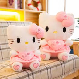 Kt spielzeug online-2019 neue Ankunft KT Katze Plüschtier Kuscheltiere Hallo Kitty Mädchen Kissen Puppen Valentine Geschenk Großhandel