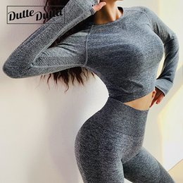 ladies long jersey Promo Codes - Seamless Long Sleeve Gym Crop Sport Yoga Top Blouses Womens Workout Tops Ladies Tee Shirt Femme Jersey Fitness Tshirt Woman