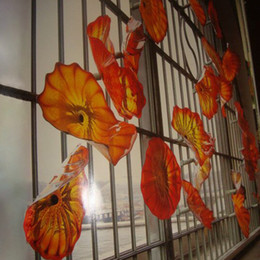 выдувные художественные тарелки Скидка Крытый Оранжевый Красный Fancy Довольно Ручной выдувные декор стены Стеклянные тарелки, Murano Art Wall Hanging Заказные цвета плиты