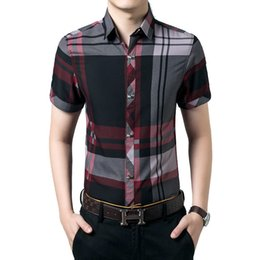 Мужские рубашки онлайн- New Men's Short Sleeve Shirts Summer Fashion Plaid Casual Fit Slim No Iron Business Shirt For Men Dress Shirt 3XL