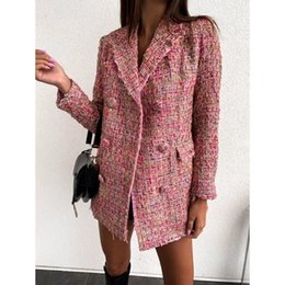 Agana Womens Notched Lapel Plaid Vintage Double Breasted Suit Coat Blazer Jacket