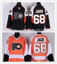 Billige china jersey s online-Billige Herren Philadelphia Flyer # 68 Jaromir Jagr Jersey Schwarz Home Orange Eishockey Jerseys Shorts Shirts China