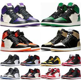 Zapatos morados online-2019 Hombres 1s top Pine Green Court Purple Chicago OG 1 Juego Zapatillas de baloncesto Royal Blue Tablero deportivo zapatillas deportivas tamaño 5.5-13