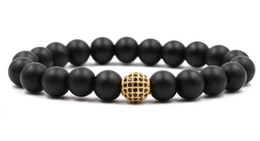 black ball beaded bracelets Coupons - 10mm th32 elastic adjusted nature black stone volcanic lava bead micro pave cz zircon cubic zirconia ball Bracelet