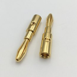 Adaptadores de poste de encadernação on-line-Freeshipping 100pcs Latão metal dourado 4 milímetros Banana Masculino plug AV Audio Vedio Adapter Connector for Binding Post Amplificadores Speaker