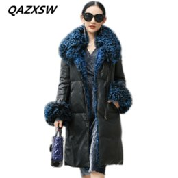 5538d387790 2018 Winter New Women s Genuine Leather Coat Sheep Leather Down Jacket Long  Section Wool Collar Thick Warm Slim Outer LE517