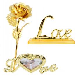 amore della cornice Sconti Lamina d'oro placcato Rose Photo Frame dura per sempre Rose con AMORE Base regali creativi per il giorno di dell'amante festa di nozze di San Valentino