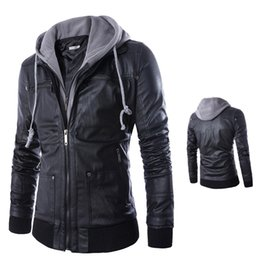 46ef4a7ff62 VVTS Men s Hooded Fake Two-Piece Hat Detachable Leather Men s Motorcycle  Leather Casual Hoodies With Zipper Jacket Coat