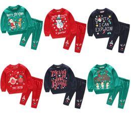 Roupas de bebê menino santa on-line-Roupas de Bebê de natal hoodies Set INS Crianças Santa Carta Imprimir Tops Calças Menino Meninas de Manga Longa Roupas Crianças Roupas Em Casa GGA1408