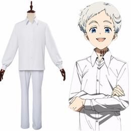 Anime menino uniforme on-line-Anime O Prometido Neverland Norman Ray Traje Cosplay Camisa Uniforme Da Escola Calças Homens Halloween Carnaval Traje Adulto Menino