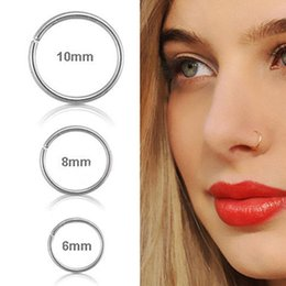 2019 маленькие носовые шпильки MODRSA 1piece Stainless Steel Cartilage Helix Piercing Stud Thin Small Nose Hoop Ring Tragus Fake Septum Ring Body Jewelry дешево маленькие носовые шпильки