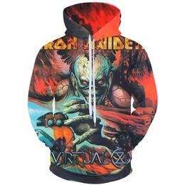 regalo di ferro di ferro Sconti Felpa con cappuccio da uomo Iron Maiden Felpe con cappuccio 3D Stampa Sweatshrits Donna Unisex Pullover Music Band Streetwear Eddie Pullover Fans Regali Cappotti 11 Stile