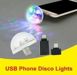 2019 telefone android i5 atacado Criativa LED Partido USB Stage Telefone Luzes do disco colorido luz música Voice Control Luzes USB Magic Ball Para iPhone Android Phone