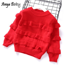2019 suéter jersey rojo de los niños AmyaBaby Girls Sweaters Ruffles Red Toddler Girl Sweater Fashion 2019 Ropa infantil Spring Girl Tops Kids Jerseys suéteres suéter jersey rojo de los niños baratos