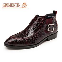 Botas de estilo masculino online-GRIMENTIN Marca Hombres Botas de Cuero de Patente de Cocodrilo Estilo Negro Marrón Mens Botines Venta Caliente Diseñador de Moda Italiana Zapatos Masculinos