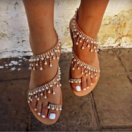 Perline per stringhe online-Scarpe estive Sandali donna 2019 Pearl Flats sandali gladiatore donna Fashion String Bead beach sapato feminino