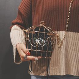 borse della borsa della borsa metallica Sconti Borsa da sera Birdcage da donna frizione telaio in metallo da ricamo secchiello gabbia per uccelli borsa mini borsa donne oro nappa borsa Y19051702