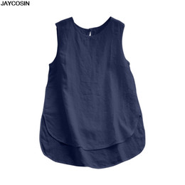 JAYCOSIN Bluse Frauen Casual Plus Size Leinen Tops T Vintage Solide Sleeveless Lose Weste Sommer DIY Tops Weiche Hohe Qualität 9416 von Fabrikanten