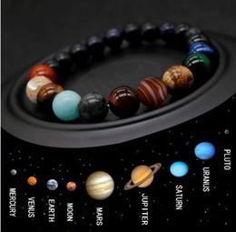 2019 pulseras de oro blanco 24k Pulsera de cuentas de ocho planetas Hombres Piedra natural Universo Yoga Chakra Pulsera solar para hombres Joyería Drop 8mm 512