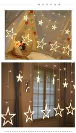 Argentina Estrella de cinco puntas led lámpara de cortina sala de interior LED lámpara decorativa boda de cumpleaños control remoto cadena de lámpara de cortina con tapón de cola fl Suministro