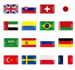 emblèmes italiens Promotion Volant 3D époxy accessoires de voiture adaptés pour la Russie Allemagne Royaume-Uni Italie Espagne Suède emblème national autocollant de voiture