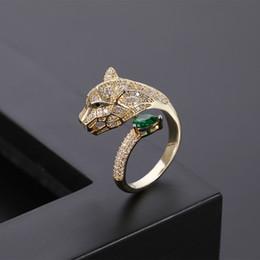 2019 anéis de ouro topázio rosa moda luxo luz personalidade projeto alternativo cabeça de leopardo micro prata incrustada anel de zircão e anel de ouro aberta das mulheres anel e os homens de