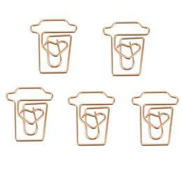 caffè tazza di carta Sconti Coffee Mug Cup clip di carta a forma di metalli nota clip per Ufficio Scolastico Wedding Decoration pacchetto 12Pcs