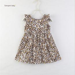 2019 robe lingerie bébé Toddler Baby Girls Leopard Dress 2019 Été À Volants À Manches Courtes Coton Toddler Girls Sundress Infant Léopard Princesse Robe De Fête 1-6A robe lingerie bébé pas cher