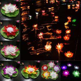 Luci a led galleggianti online-LED Lotus Lampada Diametro 18 cm Wishing Light Floating Flower Pool Light Colorful Lotus Acqua Latern Candle Lamp per la festa di nozze Festival