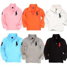 Одежда для школы онлайн-Высокое качество оптовой моды дети мальчик поло рубашки школьная форма рубашка мальчики майка с длинным рукавом хлопчатобумажной одежды на 2-7 лет