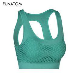 2f78166ebadb6 2018 Mesh Fitness Yoga Push Up Sports Bra for Womens Gym Running Padded  Tank Top Vest Underwear Shockproof Strappy Sport Bra Top
