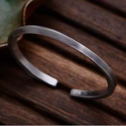 2019 braccialetti d'argento puro all'ingrosso All'ingrosso S999 argento puro antico semplice design regolabile dimensione aperto braccialetto per gli uomini e le donne braccialetti d'argento puro all'ingrosso economici